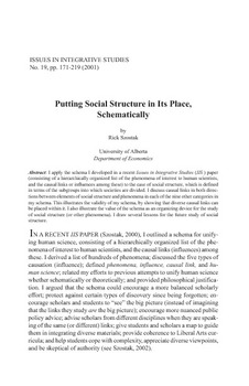 Putting Social Structure in Its Place Schematically on